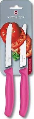 Jg com 2 facas ponta arredondada e lâmina serrilhada 10cm - Pink