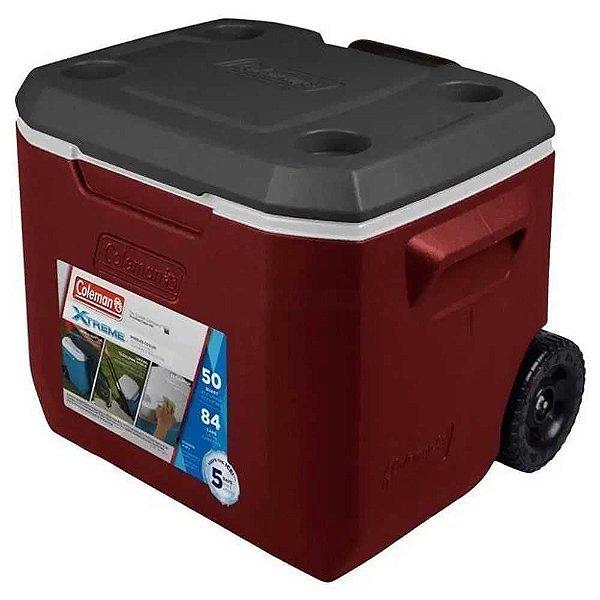 Cooler termico 050 qt (47,3L) vermelho c/ rodas