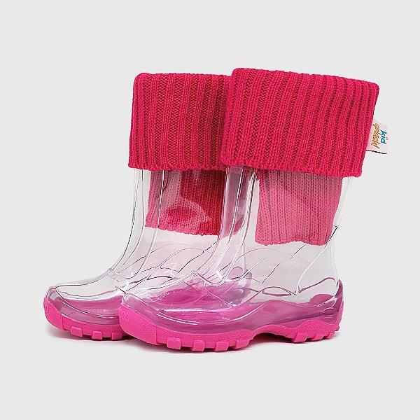 Galocha KidSplash! Transparente Solado Pink com Polaina Canelada Pink