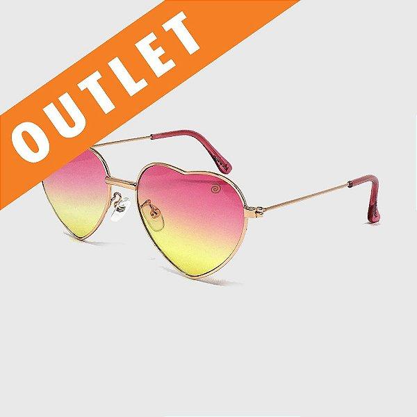 [OUTLET] Óculos de Sol Infantil com Proteção UV400 Coração Pink/ Amarelo