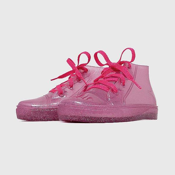 Tênis KidSplash! Glitter Rosa Claro com Cadarço Pink