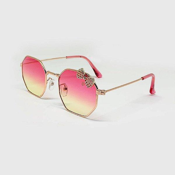 Óculos de Sol Infantil com Proteção UV400 Laço Pink e Amarelo