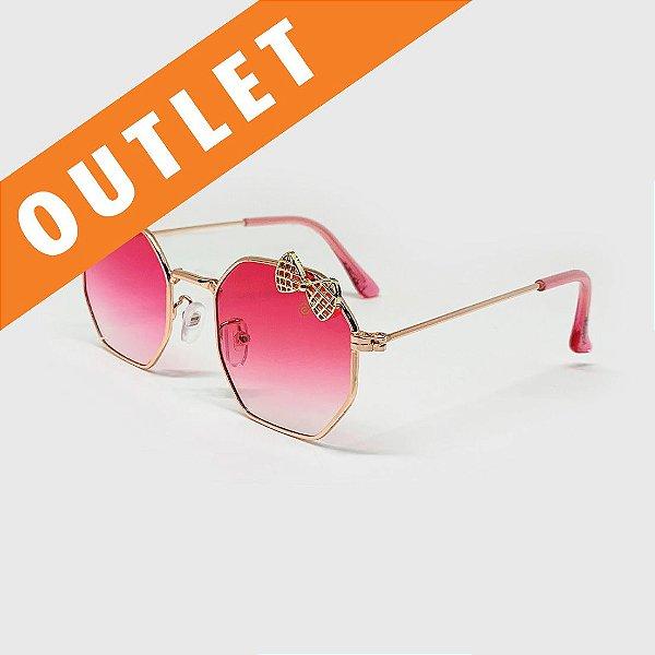 [OUTLET] Óculos de Sol Infantil com Proteção UV400 Laço Pink