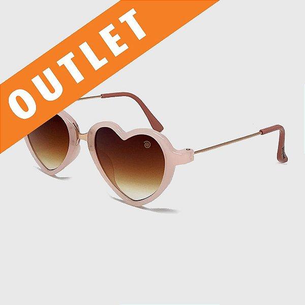 [OUTLET] Óculos de Sol Infantil com Proteção UV400 Coração Acetato Teen Rosa Nude