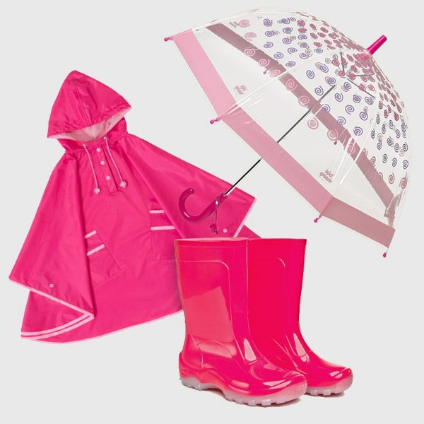 Kit Chuva Pink KidSplash! Capa De Chuva + Galocha Lisa + Guarda-Chuva