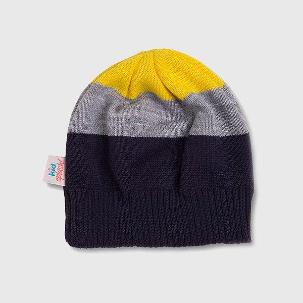 Gorro 3 Color - Marinho/Amarelo/Cinza