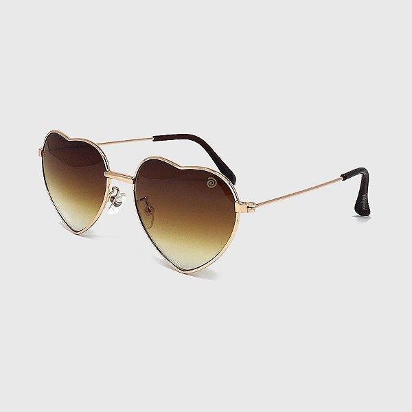 Óculos de Sol Infantil com Proteção UV400 Coração Marrom
