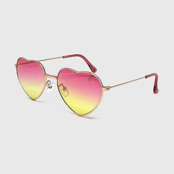 Óculos de Sol Infantil com Proteção UV400 Coração Pink e Amarelo