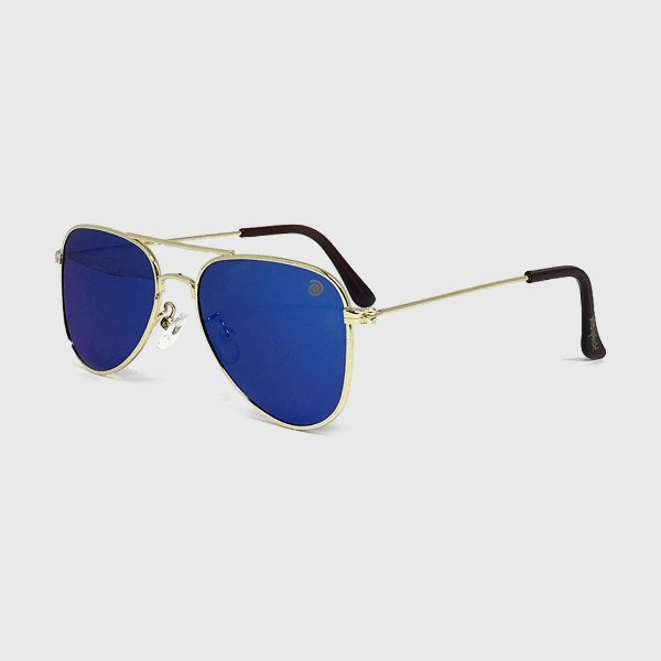 Óculos de Sol Infantil com Proteção UV400 Aviador Espelhado Azul