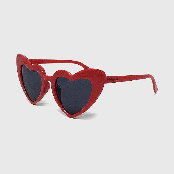 Óculos de Sol Infantil com Proteção UV400 Coração Acetato Vermelho