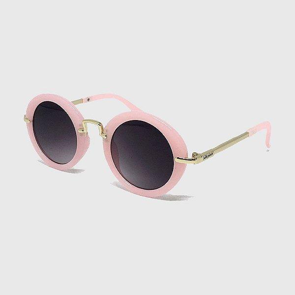 Óculos de Sol Infantil com Proteção UV400 Redondo Acetato Rosa Claro