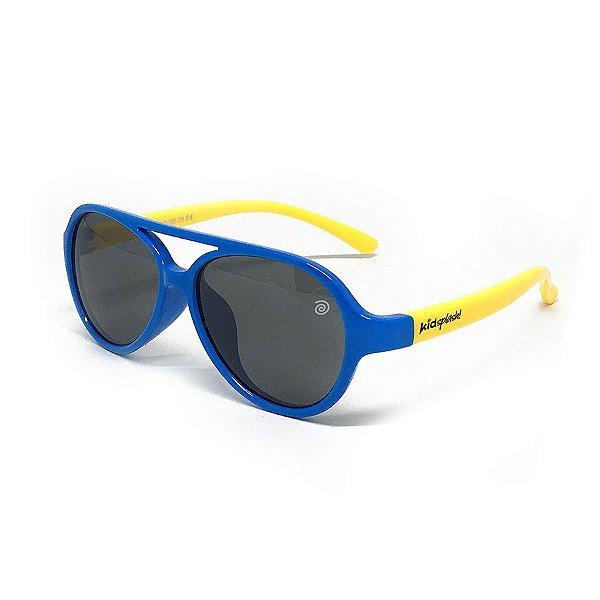 Óculos de Sol Infantil Flexível Aviador com Lente Polarizada e Proteção UV400 Azul Claro e Amarelo