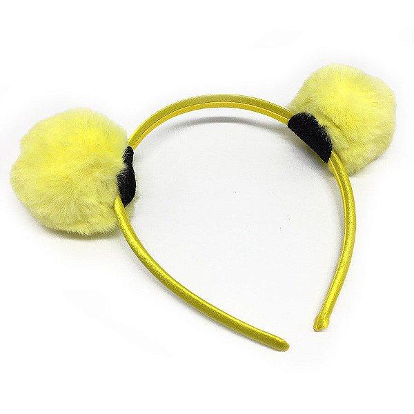 Tiara Pompom Pele Amarela