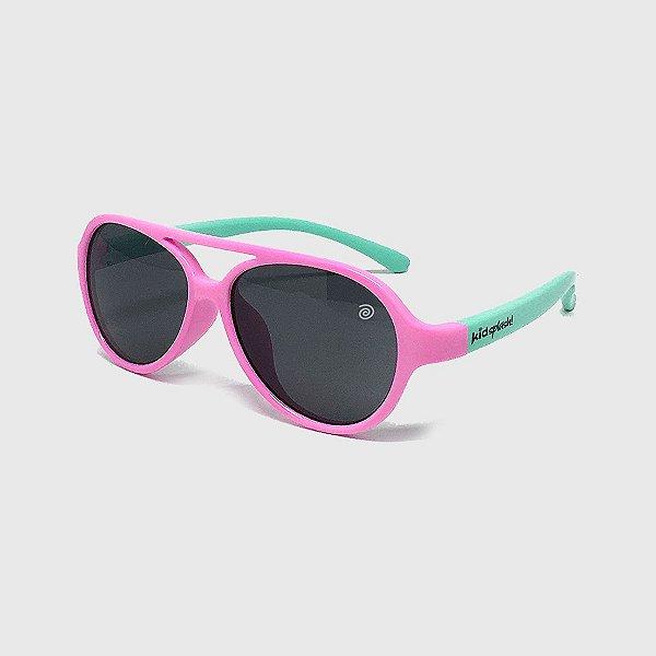 Óculos de Sol Infantil Flexível Aviador com Lente Polarizada e Proteção UV400 Rosa e Azul Piscina
