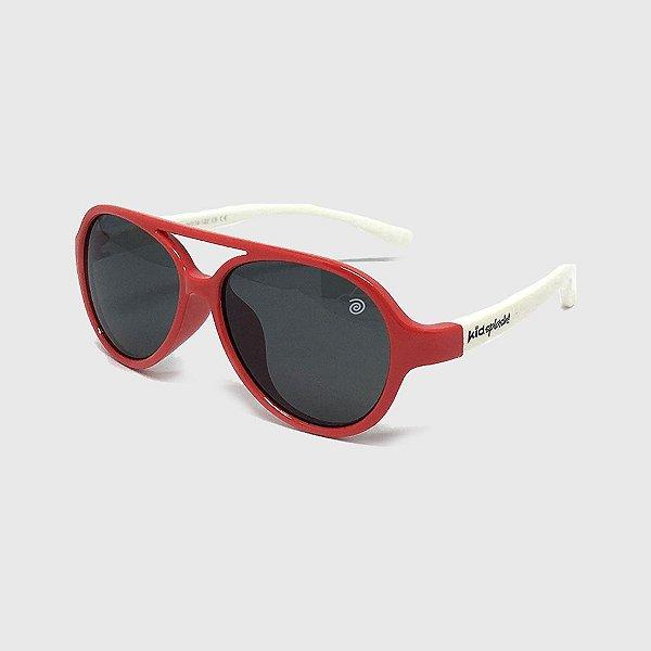 Óculos de Sol Infantil Flexível Aviador com Lente Polarizada e Proteção UV400 Vermelho e Branco