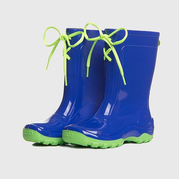 Galocha KidSplash! Azul-Neon com Cadarço Verde-Neon