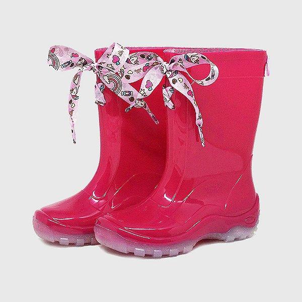 Galocha KidSplash! Pink com Laço Unicórnio Rosa Claro