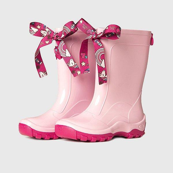 Galocha KidSplash! Rosa Claro com Laço Unicórnio Pink