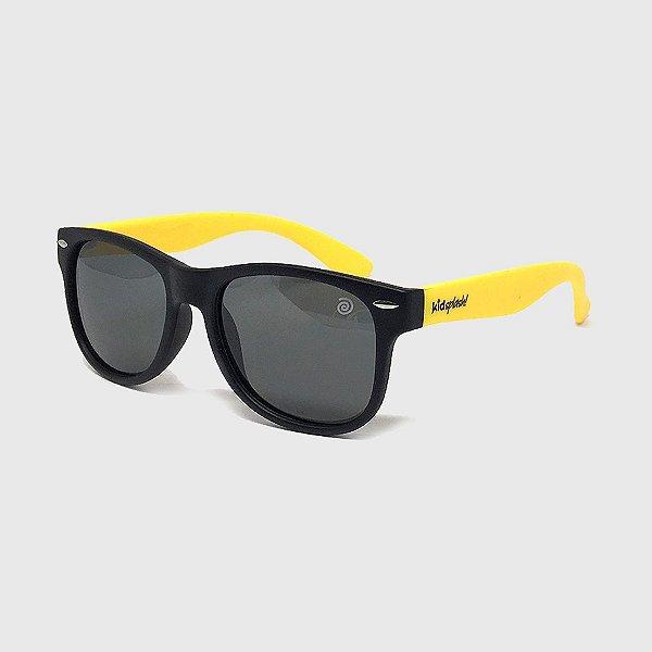 Óculos de Sol Infantil Flexível com Lente Polarizada e Proteção UV400 Preto e Amarelo