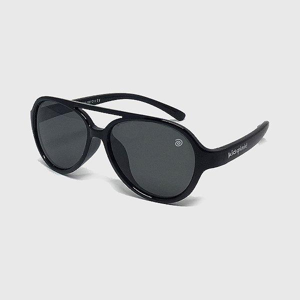 Óculos de Sol Infantil Flexível Aviador com Lente Polarizada e Proteção UV400 Preto