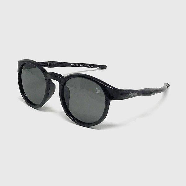 Óculos de Sol Infantil Flexível Redondo Esportivo com Lente Polarizada e Proteção UV400 Preto