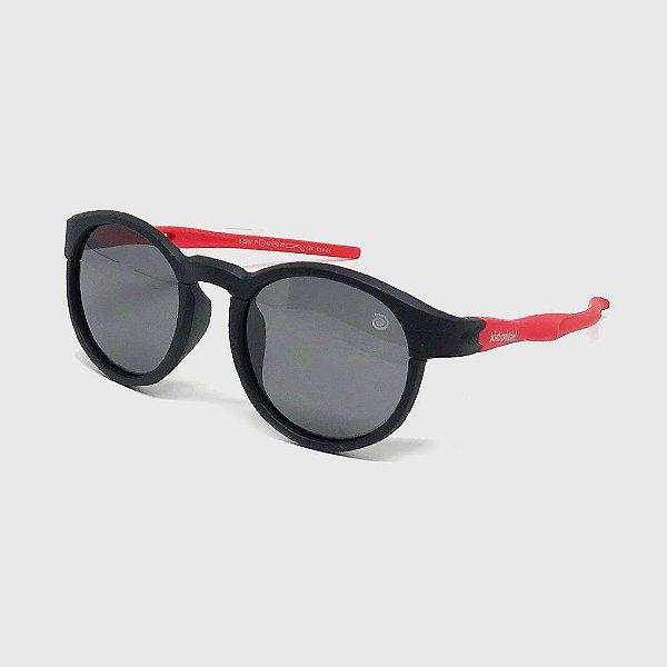 Óculos de Sol Infantil Flexível Redondo Esportivo com Lente Polarizada e Proteção UV400 Preto e Vermelho