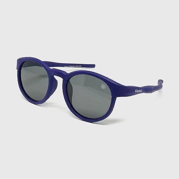 Óculos de Sol Infantil Flexível Redondo Esportivo com Lente Polarizada e Proteção UV400 Azul Marinho