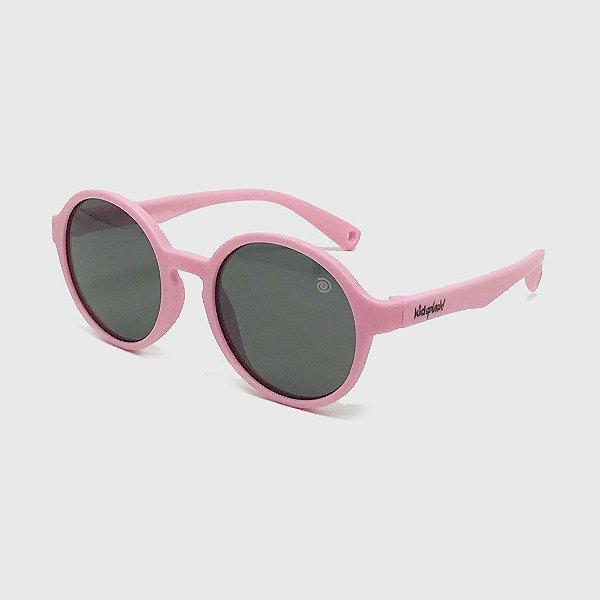 Óculos de Sol Infantil Flexível Redondo com Lente Polarizada e Proteção UV400 Rosa Nude