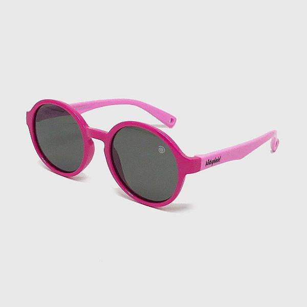 Óculos de Sol Infantil Flexível Redondo com Lente Polarizada e Proteção UV400 Pink e Rosa
