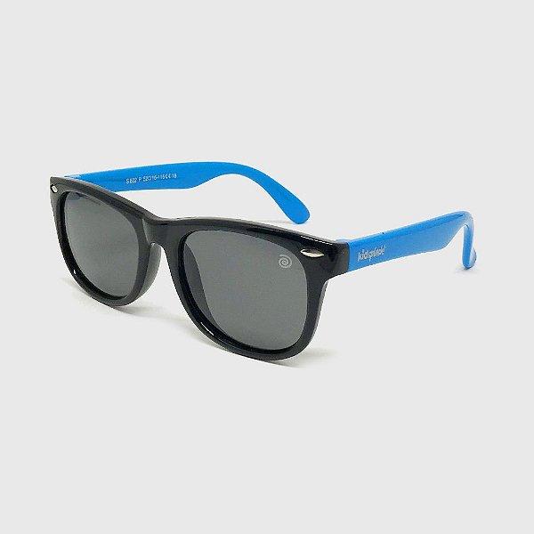 Óculos de Sol Infantil Flexível com Lente Polarizada e Proteção UV400 Preto e Azul