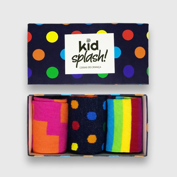 Caixa Presente Bola Multicolor Kit 3 Meias 3/4 - Bola Multicolor/ Joy/ Arco-Íris
