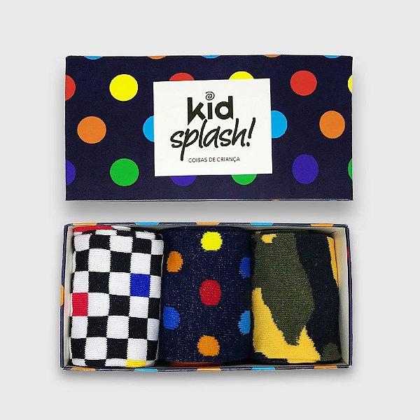 Caixa Presente Bola Multicolor Kit 3 Meias 3/4 - Bola Multicolor/ Street/ Camuflada