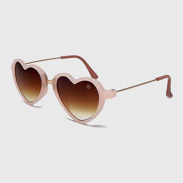 Óculos de Sol Infantil com Proteção UV400 Coração Acetato Teen Rosa Nude