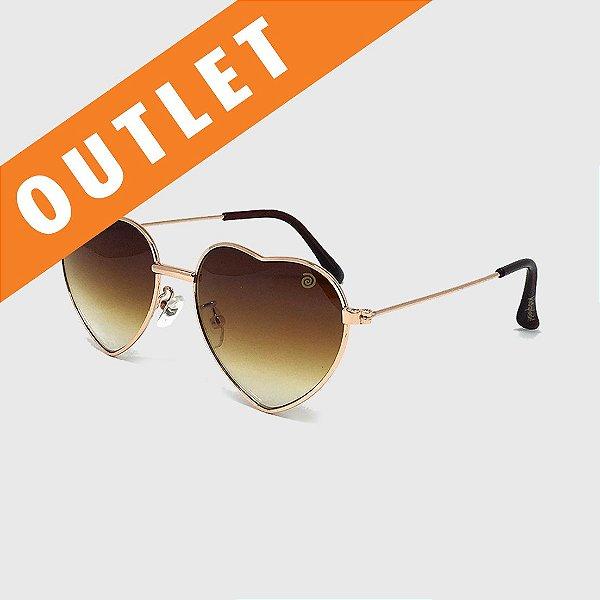 [OUTLET] Óculos de Sol Infantil com Proteção UV400 Coração Marrom