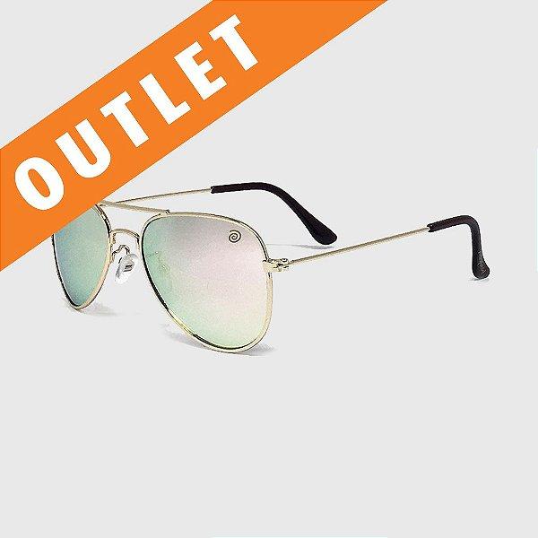 [OUTLET] Óculos de Sol Infantil com Proteção UV400 Aviador Espelhado Rosê