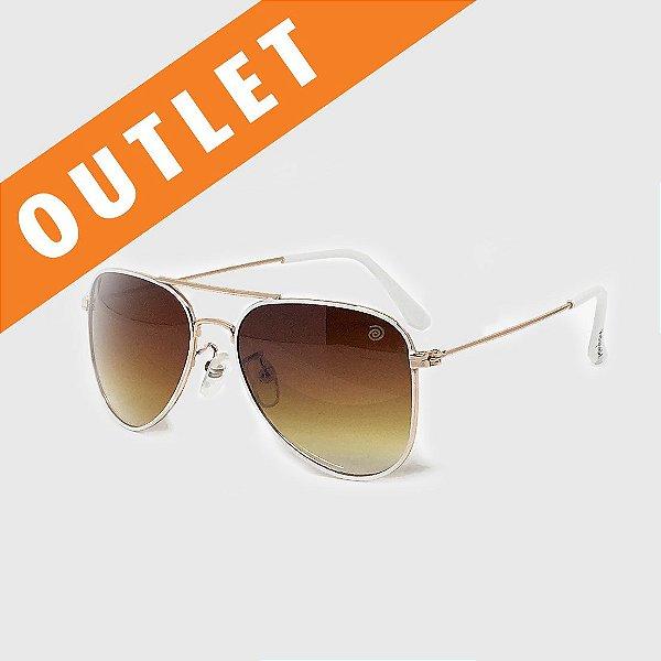 [OUTLET] Óculos de Sol Infantil com Proteção UV400 Aviador Branco e Marrom