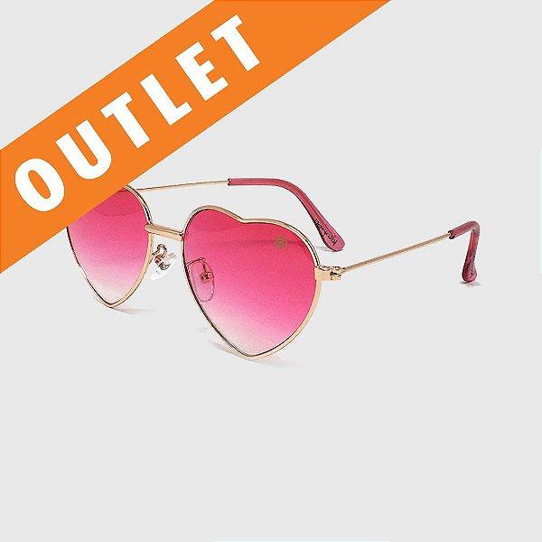 [OUTLET] Óculos de Sol Infantil com Proteção UV400 Coração Pink