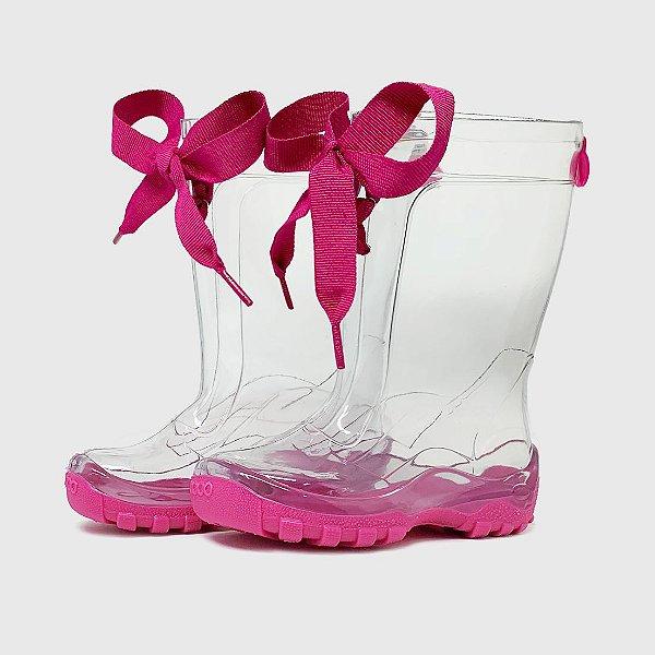 Galocha KidSplash! Transparente Solado Pink com Laço Pink