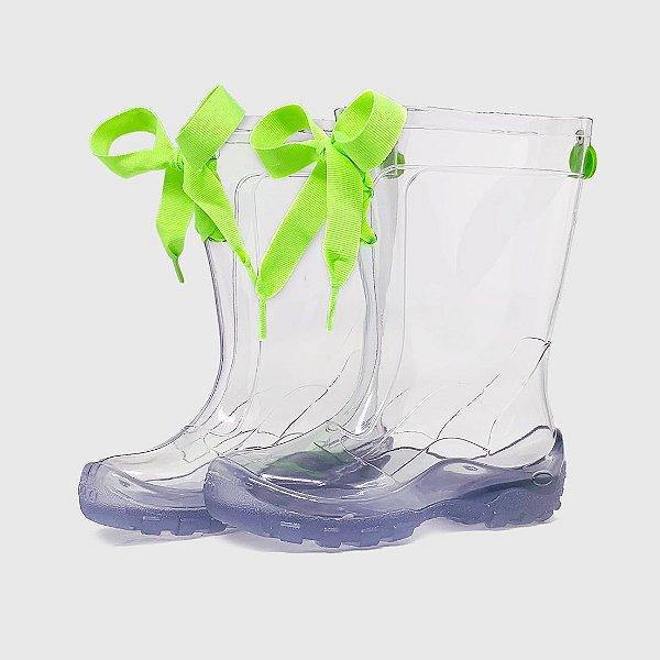 Galocha KidSplash! Transparente com Laço Verde Neon