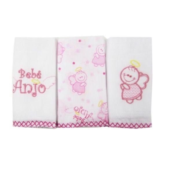 Kit 3 Babetes Bordados Anjinho Para Bebês