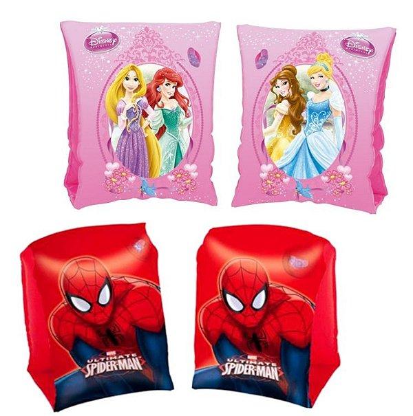 Bóias de Braço Infláveis Homem Aranha e Princesas Disney