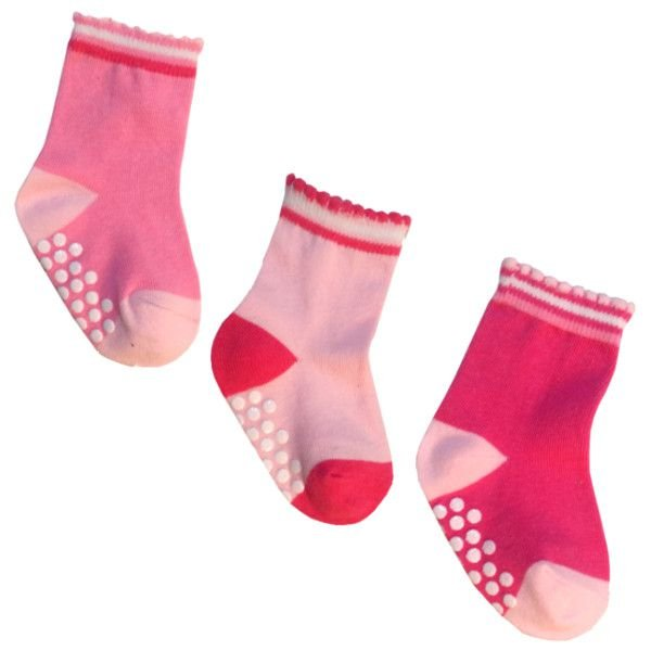 Kit com 3 pares de meias antiderrapantes para bebê 2 a 4 meses  - Feminino