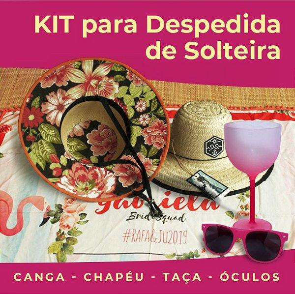 Kit Despedida de Solteira - Canga, Óculos, Taça e Chapéu