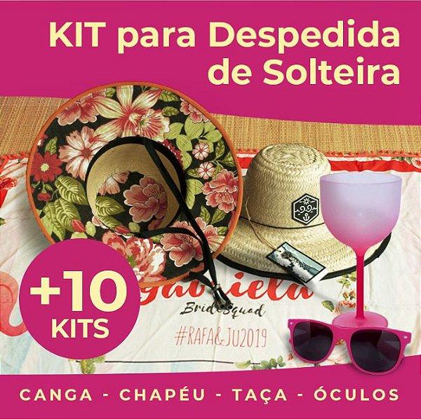 10 Kits Despedida de Solteira - Canga, Óculos, Taça e Chapéu