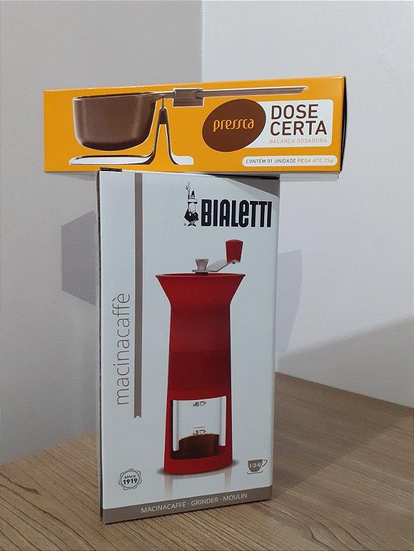 Moedor de café manual Bialetti vermelho + (Brinde balança dose certa)
