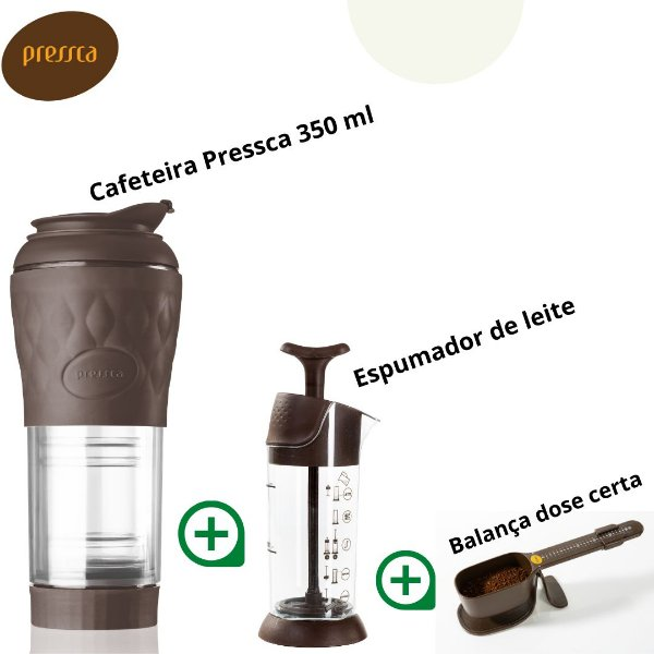 Kit Pressca Cafeteira Portátil + Cremeira + Balança dose certa (Marrom)