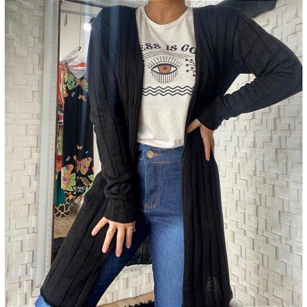 Cardigan tricot preto