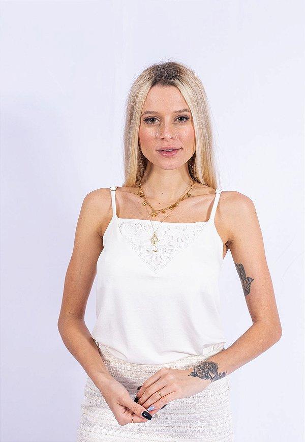 Blusa Regata Combinação Up Side Wear Off White