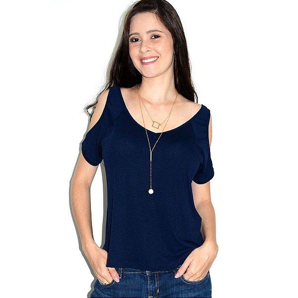 Blusa Ombro de Fora Azul Marinho