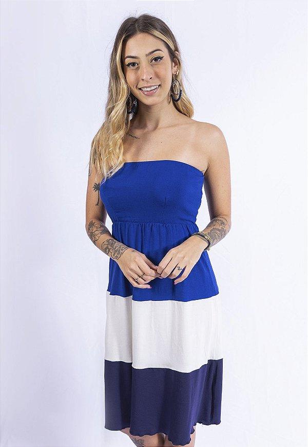Vestido Tomara que Caia Tricolor Up Side Wear Azul